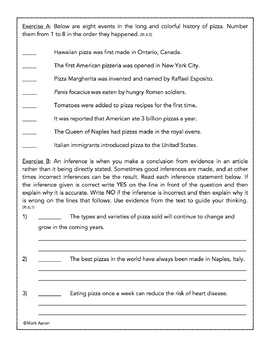 The History of Pizza: Informational Passage and Assessment for Grades 5-8