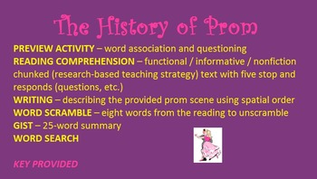 The History of Prom - chunked functional / informational reading, writing, etc.