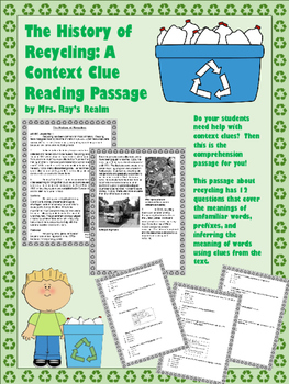 The History of Recycling: A Context Clue Reading Passage