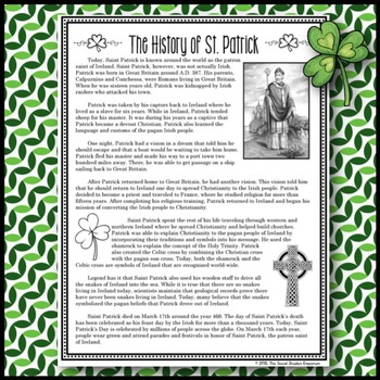 The History of St. Patrick: Reading Passage and Questions
