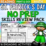 St. Patrick's Day Math and Reading Activities No Prep