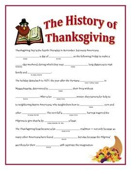 The History of Thanksgiving: A Thanksgiving Madlib