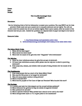 The History of The Crucible: An Online Scavenger Hunt