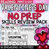 Valentine's Day Activities Math and Reading No Prep Packet and Worksheets