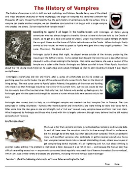 The History of Vampires - Halloween Reading Comprehension Worksheet