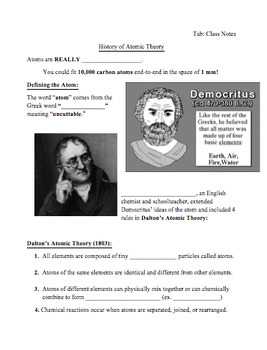 The History of the Atom - Models and Scientists (Teacher and Student Versions)