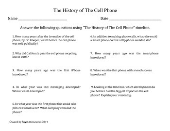 Timeline ~ The History of the Cell Phone --Time Line--  CCSS ELA Grade 4