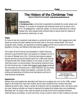 The History of the Christmas Tree Reading Passage
