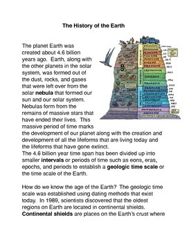 The History of the Earth Common Core activities
