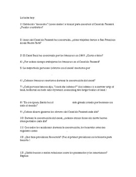 The History of the Panama Canal (Modern Marvels documentary worksheet)