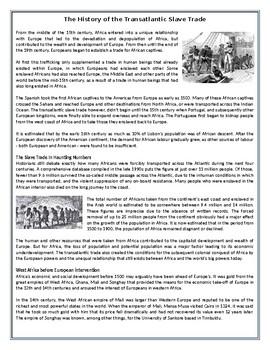 The History of the Transatlantic Slave Trade - Reading Comprehension