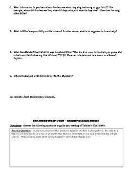 The Hobbit 18-Page Study Guide with Journal Questions