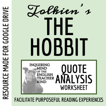 The Hobbit - Quote Analysis Worksheet
