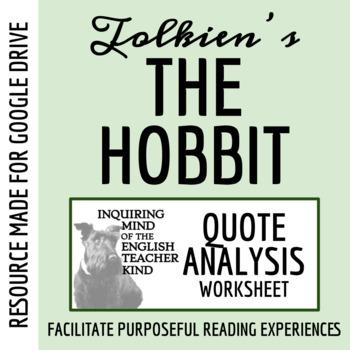 The Hobbit - Quote Analysis Worksheet