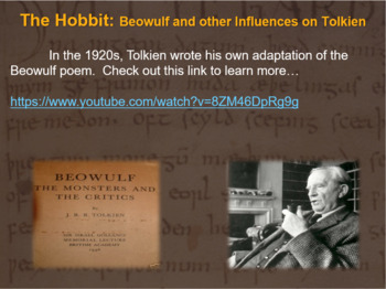 The Hobbit: Beowulf & other influences on Tolkien: 20-slide PPT & Free Notes)