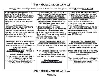 The Hobbit Chapter 17+18 Activities