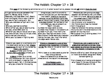 The Hobbit Chapter 17+18 Activities
