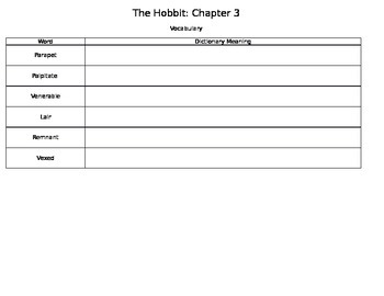 The Hobbit Chapter 3 Activities