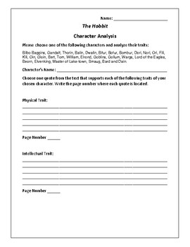 The Hobbit Character Analysis Activity - J. R. R. Tolkien