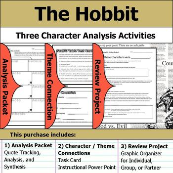 The Hobbit - Character Analysis Packet, Theme Connections, & Project
