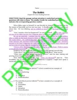 The Hobbit Close Reading Questions for Chapter 18
