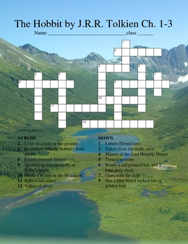 The Hobbit Crossword Chapters 1-3