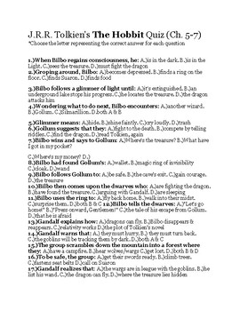 The Hobbit Quiz (Ch. 5-7) *Answer Key included