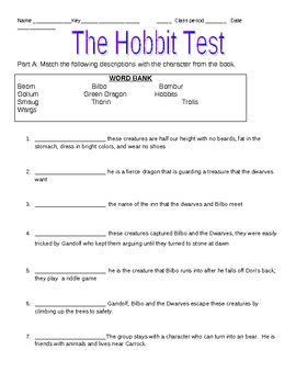 The Hobbit Test over Chapters 1-10 with Answer Key