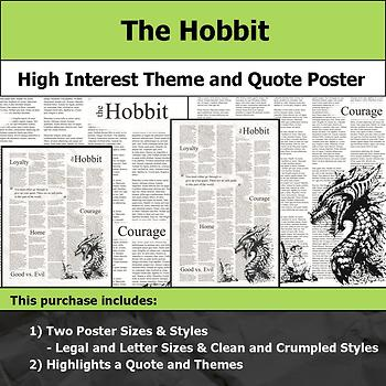 The Hobbit - Visual Theme and Quote Poster for Bulletin Boards