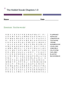 The Hobbit Vocabulary Chapters 1-3 WORD SEARCH