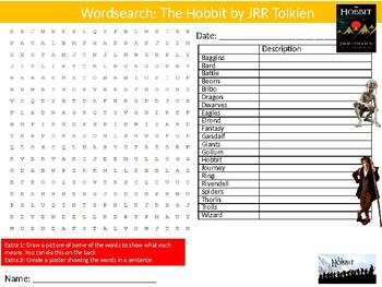 The Hobbit Wordsearch Puzzle Sheet Keywords English Literature Novel