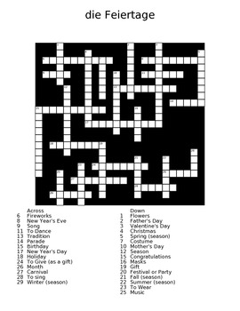 The Holidays (die Feiertage) German Crossword Puzzle with Answer Sheet