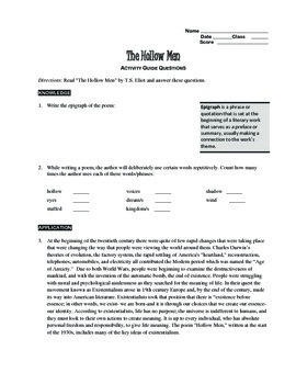 """The Hollow Men"" COMPLETE UNIT EDITABLE Activities,Tests,Essays,AP Style,Keys"