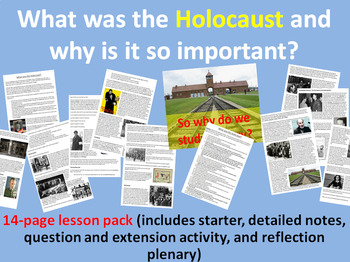 The Holocaust - 14-page full lesson (starter, notes, questions, plenary)