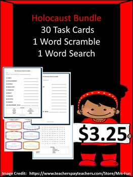 The Holocaust Bundle- 30 Task Cards, 1 Word Scramble & 1 Word Search