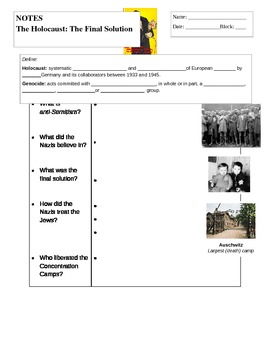 The Holocaust Guided Notes - to with the PPT I have available