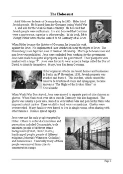 The Holocaust - Reading Comprehension with Differentiated Activities