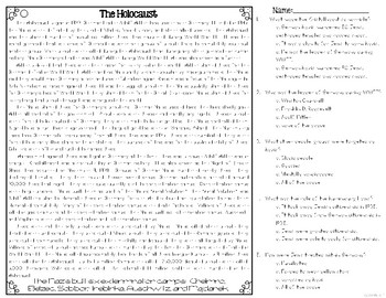 The Holocaust Reading Passages Leveled Texts