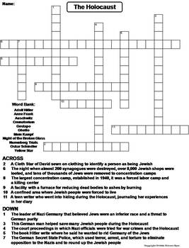 The Holocaust Worksheet/ Crossword Puzzle