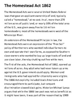 The Homestead Act 1862 Handout