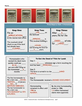 The Homestead Act: A SmartBoard & Student Sheet Activity Pack: Gr. 3-6