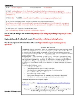 The Homestead Act Primary Source Worksheet