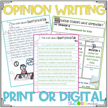 Homework Paired Texts: Writing On-Demand Opinion Argumentative Essay Editable