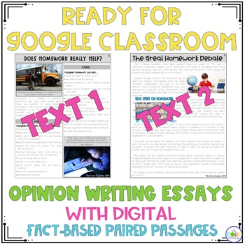 Homework • Print or Digital Paired Text Passages Writing | for Distance Learning