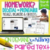 Homework • Print or Digital Paired Text Passages & Writing