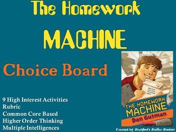 The Homework Machine Choice Board Novel Study Activities Menu Book Project