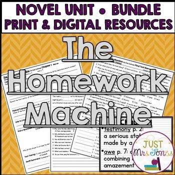 The Homework Machine Novel Unit
