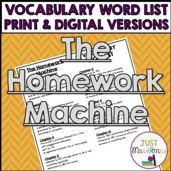 The Homework Machine Vocabulary Word List