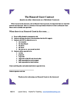 The Honored Guest (Substitute) Contract