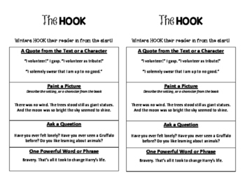 The Hook (for Reader's Response)